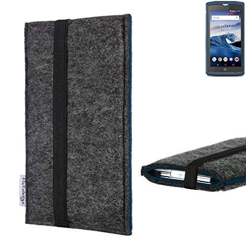flat.design Handyhülle Lagoa für Crosscall Core-X3 | Farbe: anthrazit/blau | Smartphone-Tasche aus Filz | Handy Schutzhülle| Handytasche Made in Germany