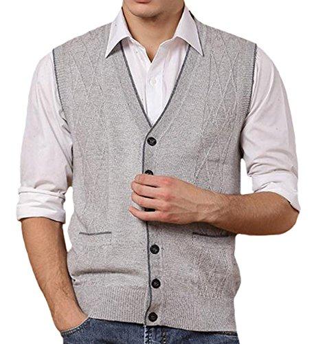 DD.UP Herren V-Ausschnitt Pullunder Einfarbig Argyle Muster Schaltfläche nach unten Wollweste Strickweste Weste mit Tasche