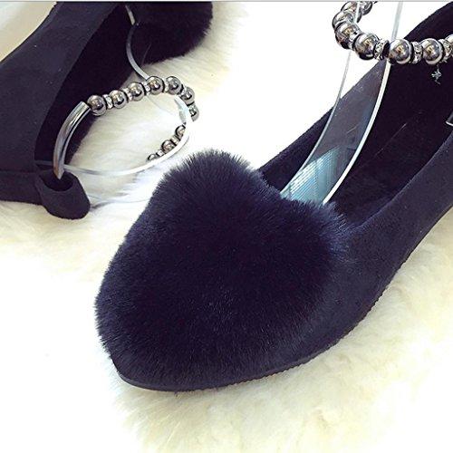DM&Y 2017 versione coreana del coniglio puro colorazione scarpe bocca piatta pattini dei piselli banchetto peluche scarpe a punta Black