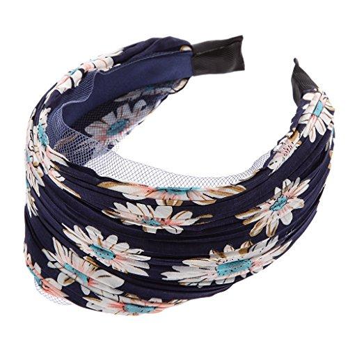Bandeau Large Serre-tête Accessoire pour Cheveux Motif de Tournesol Rétro