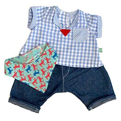Rubens Barn Kleidung Party Collection - Little Emil / 1 x dunkelblaue Hose + hellblau/weiß Kariertes Hemd mit gemustertem Halstuch