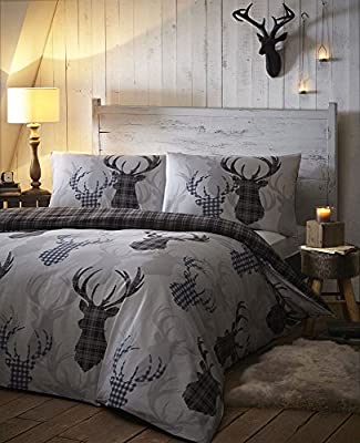 Duvet Cover Bed Sets - Tartan Stag Reversible Bedding Checked Quilt Cover Bed Set Greys