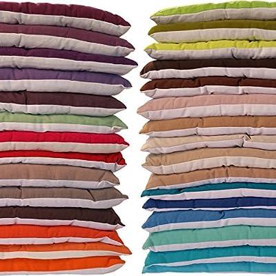 Sitzkissen 40x40 cm Stuhlkissen Dekokissen Garten Wohnung Auflage 100% Baumwolle sehr bequem, große Polsterstärke, 12 Punkt Steppung von Lissek - Gartenmöbel von Du und Dein Garten