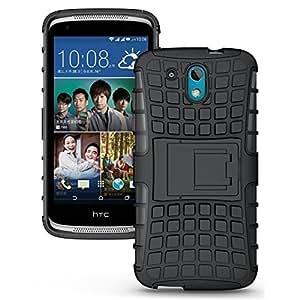 Wellmart Hybrid Defender Military Grade Armor Kick Stand Back Case Cover for HTC Desire 326 (Black)