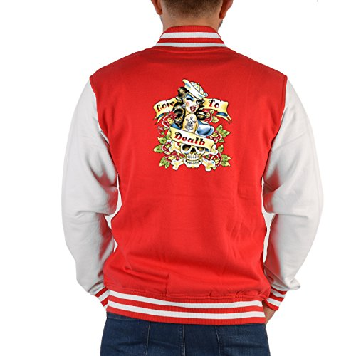 Matrosen Pin Up Rockabilly Herren College Jacke : Love to Death -- Motiv Collegejacke Männer / Herren Farbe: rot Gr: L