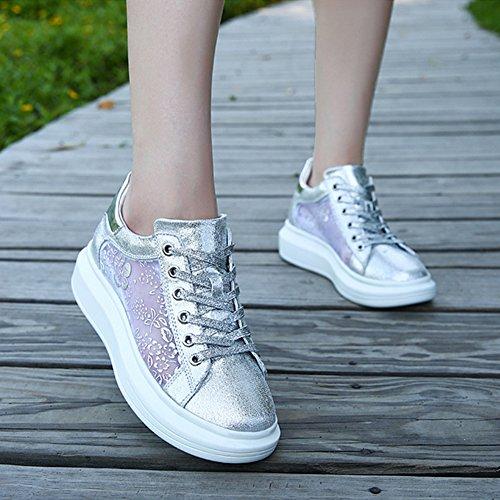 Padgene Damen Sneaker atmungsaktive Lack Schnürschuhe für Mädchen [Neues Produkt 2016 Sommer] Silber
