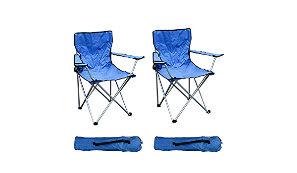 Fishing Chair with Drinks Holder and Bag Holds up to 120 kg Blue FineHome Folding Camping