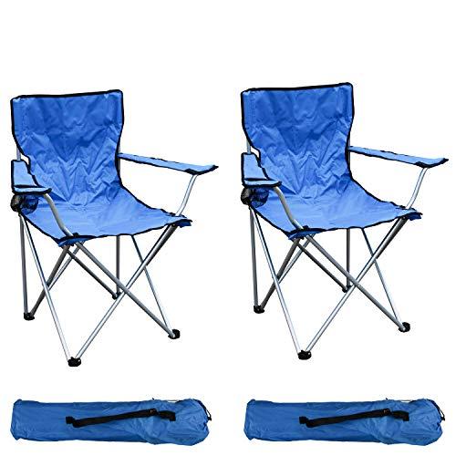 Mojawo 2-er Set Anglersessel Campingstuhl Faltstuhl Angelstuhl Anglerstuhl Regiestuhl Blau mit Getränkehalter und Tasche belastbar bis 120kg