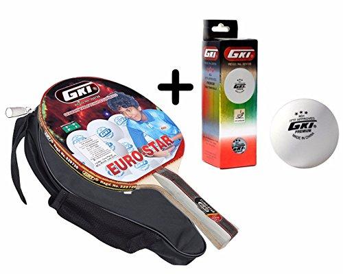 GKI Euro Star Table Tennis Combo Set (GKI Euro Star Table Tennis Racquet + GKI Premium 3 Star 40 Table Tennis Ball, Box of 3 - White)  available at amazon for Rs.1985