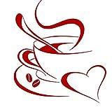Grandora Tatouage Mural Tasse à café Coeur I Rouge (LxH) 20 x 23 cm I Tasse à café Haricots Autocollant Sticker Cuisine Mural W3040