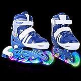 AMdirect Einstellbare Indoor Outdoor Leichte Inline Skates mit Vollblinkrad für Kinder Jungen Mädchen Canvas Inline Rollerblades (S: 31-34 / M: 35-38 / L: 39-42) (Blau, 39-42)