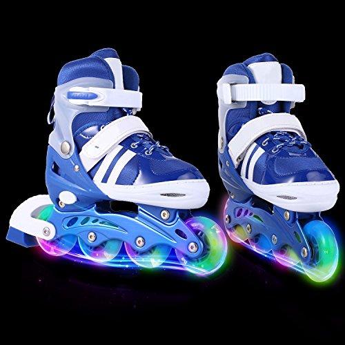 AMdirect Einstellbare Indoor Outdoor Leichte Inline Skates mit Vollblinkrad für Kinder Jungen Mädchen Canvas Inline Rollerblades (S: 31-34 / M: 35-38 / L: 39-42) (Blau, 31-34) (3 Jugend-skate-schuhe)
