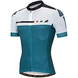 YUWELL Jersey de Ciclismo Jesrey Jersey de Ciclismo Camisa de Ciclismo Tramo Corto de Secado rápido con protección UV (Azul Blanco, XXXL)