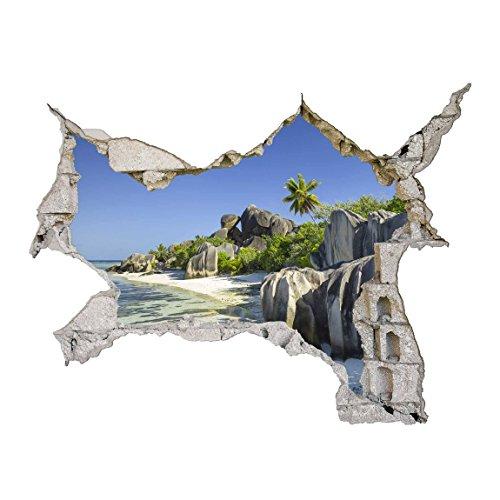 Bilderwelten 3D Wandtattoo - Traumstrand Seychellen - Quer 3:4, HxB: 120cm x 160cm