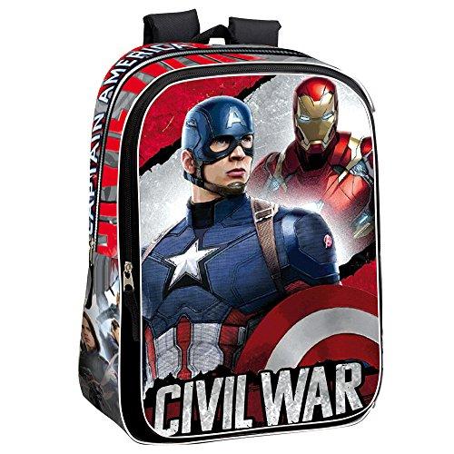 Marvel 43cm Bürgerkrieg Justice Captain America und Iron Man Rucksack (groß, rot)