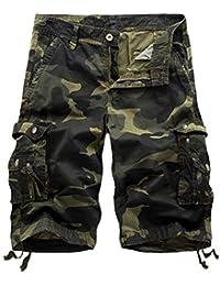 Yidarton Cargo Shorts Hommes Ete Outdoor Multipoches Bermudas Shorts De  Plage Vintage Casual Couleur Unie Camo Pantalon (sans… beb292b9169