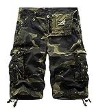 Yidarton Cargo Shorts Herren Kurze Hosen Outdoor Casual Cargo Bermudas Sommer Unifarben/Camouflage (ohne Gürtel) (Style2-Deep Army Farbe Camouflage, XL)