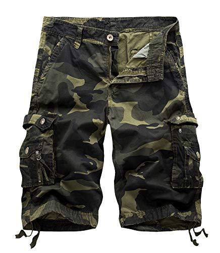 Yidarton Cargo Shorts Herren Kurze Hosen Outdoor Casual Cargo Bermudas Sommer Unifarben/Camouflage (ohne Gürtel) (Style2-Deep Army Farbe Camouflage, XL) - Camouflage Cargo Hose