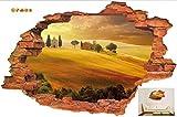 ZHOUJINGYI 3D Broken Wall Sunset Paisaje Paisaje Marino Isla Árboles de Coco Adorno del hogar Puede Quitar Las Pegatinas de Pared 60 * 90 cm