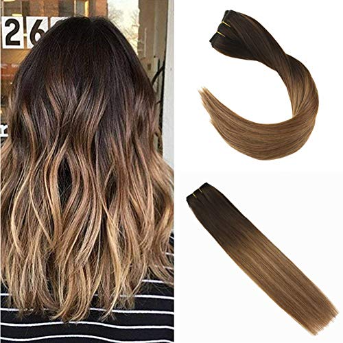 """Ugeat 16"""" #2/6/12 Balayage Brun Remy Echthaar Extensions Clip in 100% Naturlich One Piece Clip in Dip Dye Hair Extensions mit 5 Clips 50g"""