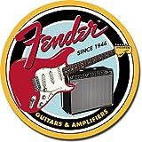 Fender Guitar Round Cartel de Chapa Placa metal plano Nuevo 30x30cm VS2762