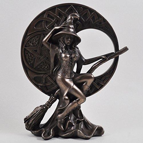 Hexe mit keltischem Mond, Bronze Ornament. (Hexen Sexy)