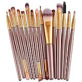 VJGOAL Damen 15 Teile/Sätze Lidschatten Foundation Augenbraue Lippenpinsel Make-Up Pinsel Werkzeug Mehrzweck (Gold, 15 PC)
