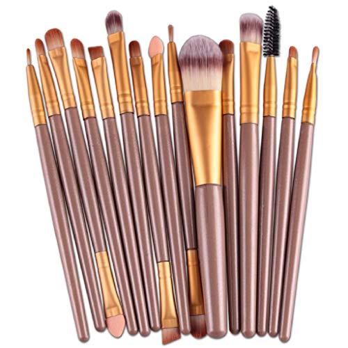 VJGOAL Damen 15 Teile/Sätze Lidschatten Foundation Augenbraue Lippenpinsel Make-Up Pinsel Werkzeug Mehrzweck (Gold, 15 PC) -