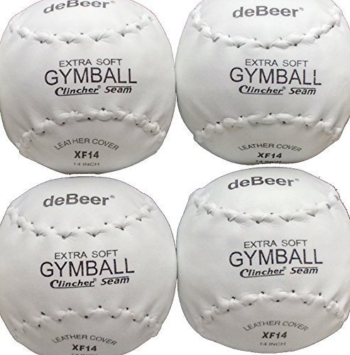 four-4-worth-debeer-leather-cover-xf-14-extra-soft-gymball-clincher-seam-softballs-by-worth