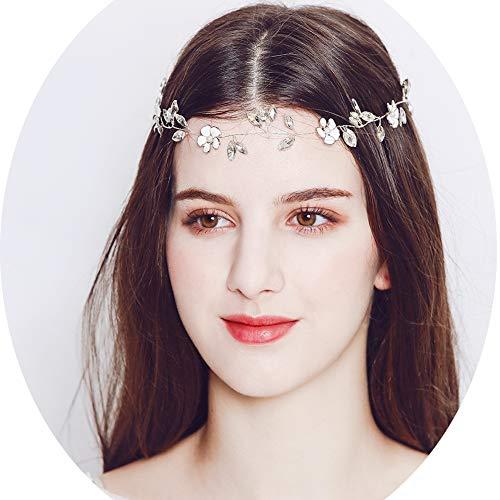J.Memi's Strass Haarband Hochzeit Emaille Blumen Haarschmuck Kristall Fleurs Haar Accessoires Für Hochzeit Zubehör,Silver - De Blatt Fleur
