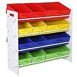 Songmics Estantería para juguetes Organizador de juguetes Estantería infantil Cajas extraíbles de tela no tejida Armazón de color blanco GKR16W