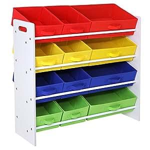 songmics meuble de rangement tag re pour jouets enfants paniers amovibles panier en tissu non. Black Bedroom Furniture Sets. Home Design Ideas