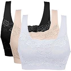 Litthing 1/2/3 Piezas Sujetadore Deportivo Encaje Sexy Transpirable Confort Yoga Deportes de Yoga para Mujeres(Negro+Blanco+Carne, XL