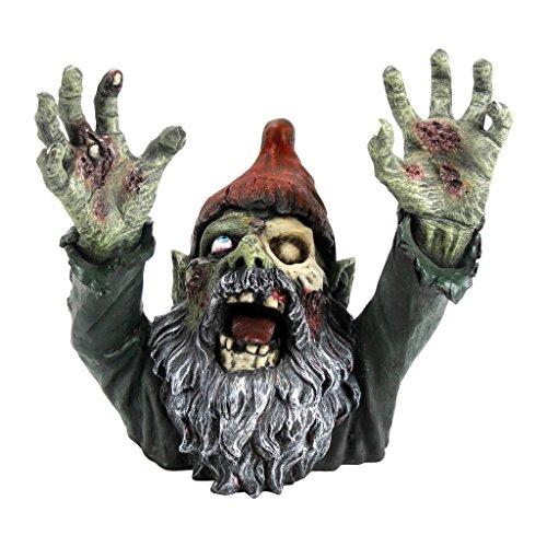 Design Toscano Zombie Gnombie Gothic-Gartenstatue Grabsteinstatue, Polyresin, vollfarbe, 28 cm (Zombie Halloween-rasen Dekorationen)