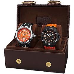 Joshua & Sons JX113OR - Set de 2 relojes de cuarzo para hombres, multicolor