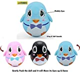 #10: TOY-STATION Push and Shake Wobbling Roly Poly Tumbler Doll with Soft and Sweet Bell Sounds[New Version] (Blue Penguin)