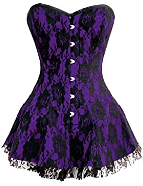 Purple Satin Black Net Burlesque Moulin Rouge Prom Costume Overbust Corset Dress