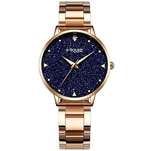 Alienwork S2Squre Damen-Uhr mit Marmor-Zifferblatt Metallarmband