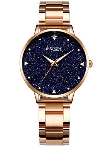 Alienwork orologio donna acciaio inossidabile oro rosa analogico quarzo nero impermeabile quadrante di marmo reale brillanti strass