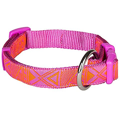 Blueberry Pet Mysterious African Geographical Pattern Dog Collar in Light Orchid, Neck 45cm-66cm, Large, Collars for Dogs, Matching Lead Available