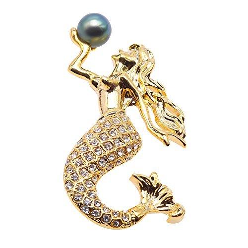 jyx feine Mermaid Brosche Tahiti Zuchtperle bezogene Lehnstuhl Southsea Brosche Pin Anhänger