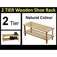 HIGH QUALITY 2 Tier NATURAL - Wooden Slatted Shoe Rack Stand Boots Organiser Storage Shelf Stack Unit
