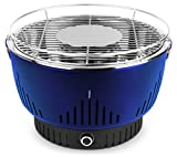 MEDION MD 17700 Holzkohlegrill mit Aktivbelüftung, regelbarer Ventilator, Temperaturregler, Grillrost aus rostfreiem Edelstahl, abnehmbare Fettauffangschale, blau