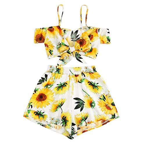TUDUZ Shorts und Top Sets Damen Sommer Strand Zweiteiler Camisole Sunflower Drucken Beachwear Chiffon Crop Tops (S, Gelb) Set Sunflower-design