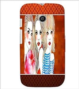 PrintDhaba Girls D-1284 Back Case Cover for MOTOROLA MOTO E (Multi-Coloured)