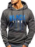 BOLF Herren Kapuzenpullover Hoodie Sweatshirt Aufdruck Print Motiv Street Style J.Style 11007 Dunkelgrau L [1A1]
