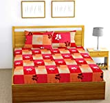 Fab Theory Boxed Daisy 104 TC 100% Cotton Double Bedsheet with 2 Pillow Covers, Red