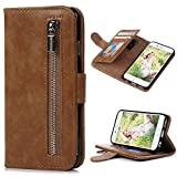"iPhone 6 Case,iPhone 6S Case (4.7""),(NOT FOR iPhone 6 6S Plus)YOKIRIN Portable Magnetic Zipper Premium PU Leather Purse Wallet Cover Kickstand Cash Card Holder Slot Series Hand Wrist Strap Design Folio Flip Case for iPhone 6/iPhone 6S, Brown"
