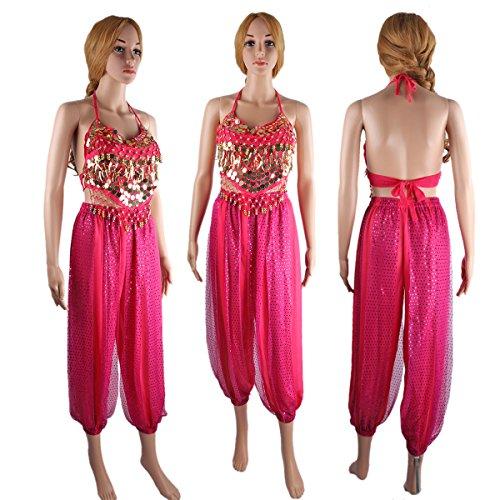 SymbolLife Bauchtanz kostüm damen indischen Tanzkleidung Tanzkostüme belly Dance Halloween Karneval Kostüme Darbietungen Kleidung Rosa