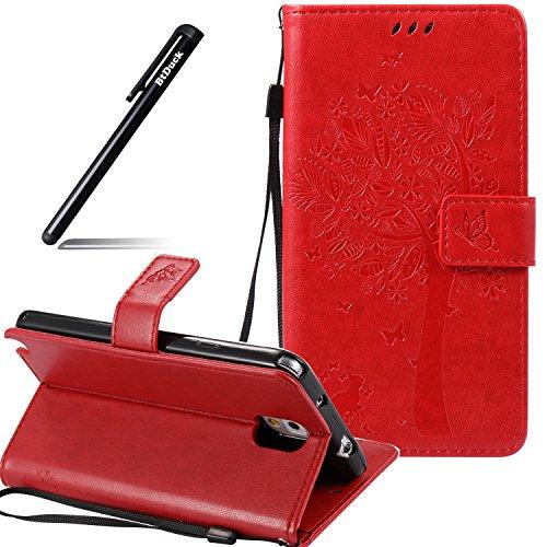 BtDuck Galaxy Note 3 Hülle Leder Rot, PU Leder Stand Tasche Katze Muster Schutzhülle mit Standfunktion Kredit Kartenfächer Magnetverschluss Briefcase Damen Flip Cover Handyhülle Samsung Galaxy Note 3
